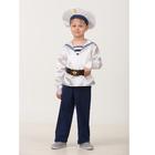 Карнавальный костюм «Матрос. Парадная форма», (матроска, брюки, бескозырка, ремень), размер 28, рост 110 см
