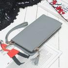 Клатч женский, 2 отдела на молниях, с ручкой, цвет серый