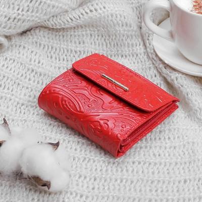 Кошелёк женский, 2 отдела, для карт, для монет, карман для sim-карты, цвет красный