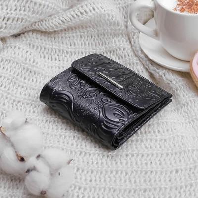 Кошелёк женский, 2 отдела, для карт, для монет, карман д/sim карты, цвет чёрный
