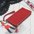 Клатч женский, 2 отдела на молниях, с ручкой, цвет бордовый