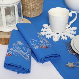 "Набор салфеток ""Этель"" Снегири, 40х40 цвет синий, 2 шт, с ВМГО хл, 200 гр/м²"