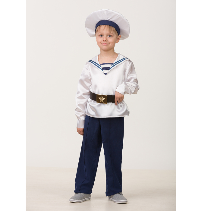Карнавальный костюм «Матрос. Парадная форма», (матроска, брюки, бескозырка, ремень), размер 36, рост 146 см