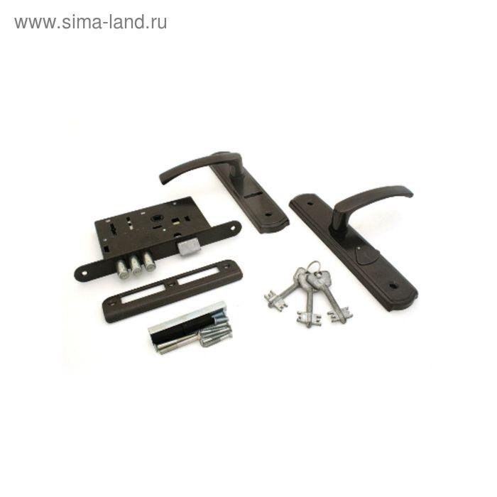 """Замок врезной """"Могилев"""" ЗВ 9-4-1-15, с ручкой, коричневый"""