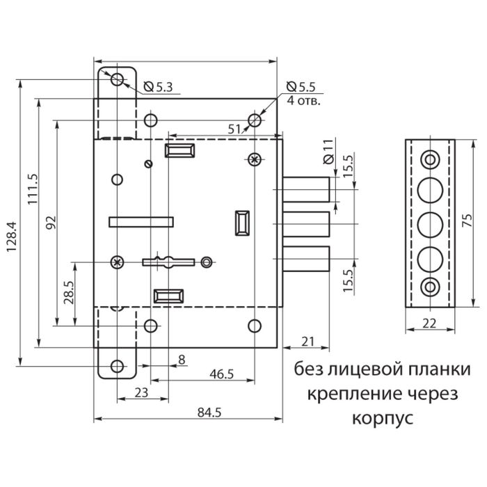 Замок врезной BORDER ЗВ 8-4Ш2Т/13 75402, с/тягами б/о, б/ручки