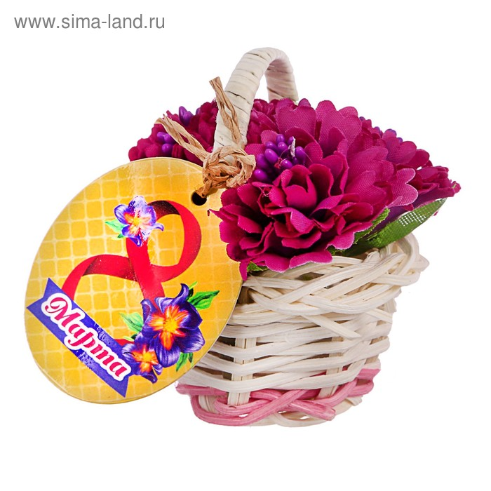 """Магнит-корзина с цветами """"Весеннего настроения"""", 5 см"""