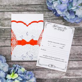 """Свадебное приглашение """"Платье-смокинг. Красный"""""""