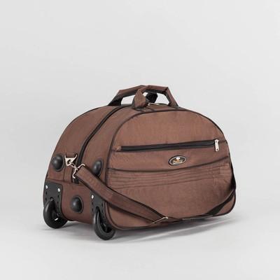 Сумка дорожная на колёсах, отдел на молнии, наружный карман, цвет коричневый