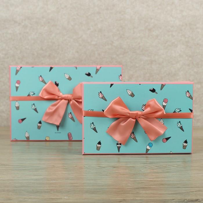 "Набор коробок 2 в 1 ""Мороженки"", 24,5 х 16 х 9 - 20 х 13 х 7,5 - фото 727356531"