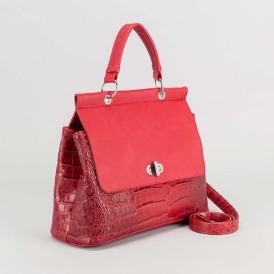 Сумка женская на клапане, 2 отдела, наружный карман, длинный ремень, цвет красный
