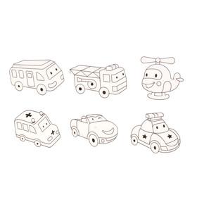 Витражи - мини 6 шт.:Вертолёт, пожарная машина, скорая помощь, автобус, полицейская машина