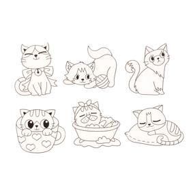 "Витражи-мини ""Весёлые котята"", 6 шт."