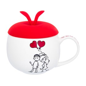 Кружка «Романтическая прогулка», с красной силиконовой крышкой, объём 330 мл