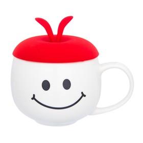 Кружка «Утренняя улыбка», с красной силиконовой крышкой, объём 330 мл