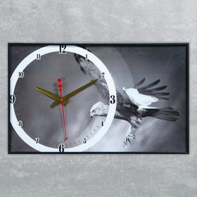 """Часы на холсте """"Орёл"""", 57х35х4 см"""