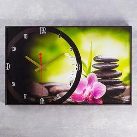 """Часы настенные, серия: Цветы """"Розовый цветок на камнях"""",  микс, 57х35х4 см"""