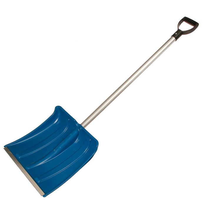Лопата пластиковая, ковш 380 × 380 мм, морозостойкая, с алюминиевой планкой, алюминиевый черенок, «Снежинка»