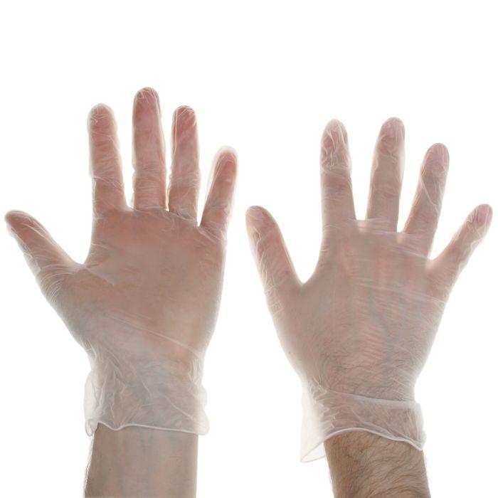 Перчатки виниловые одноразовые неопудренные, размер L, 10 шт/уп