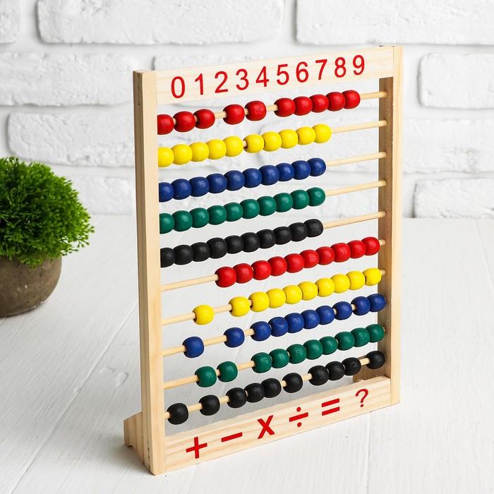 Счеты цветные, с цифрами и подставкой