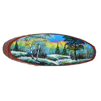 """Картина """"Зима"""" в форме среза дерева из каменной крошки, 100см"""