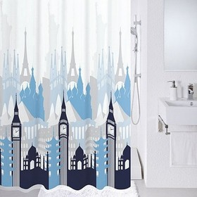 Штора для ванной комнаты 180х200 см, Travel memories