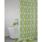 Штора для ванной комнаты 200х200 см, Curved Lines, green