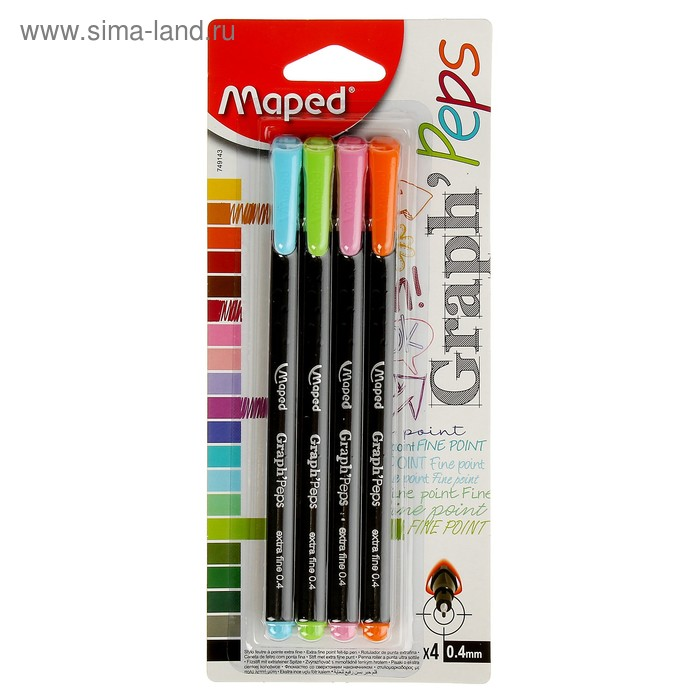 Набор ручек капиллярных 4 цвета Maped Graph Pep'S 0.4 мм треголный корпус блистер 749143