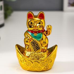 "Маятник пластик ""Манэки-нэко на слитке золота"" от батарейки 1ААА 10,5х7,5х4,5 см"