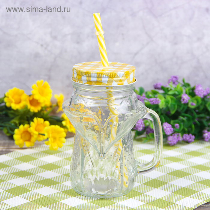 """Bank 450 ml """"Fox"""", with handle and lid under the tube, MIX color"""
