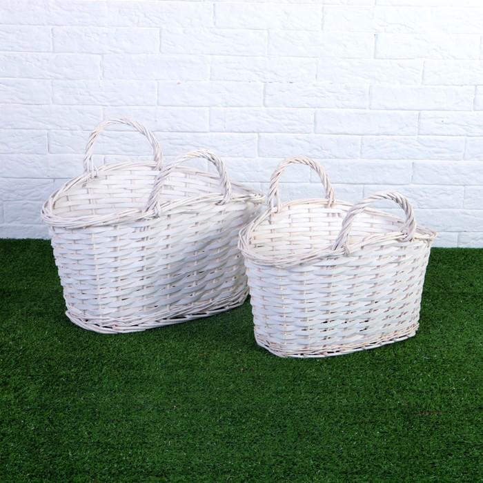 Набор корзин плетеных, ива, 39×25×19/24/33, 34×20×17/22/30 см, белые
