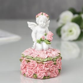 """Шкатулка полистоун """"Ангелочек в розах"""" 9,8х6х5,5 см"""