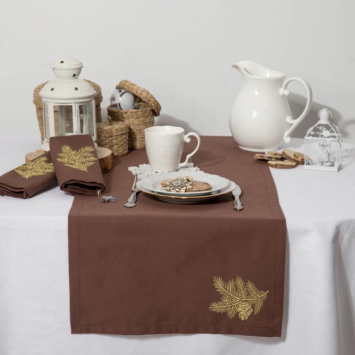 """Дорожка на стол """"Этель"""" Ветка ели, 140х40 цвет шоколад, с ВМГО хл, 200 гр/м²"""