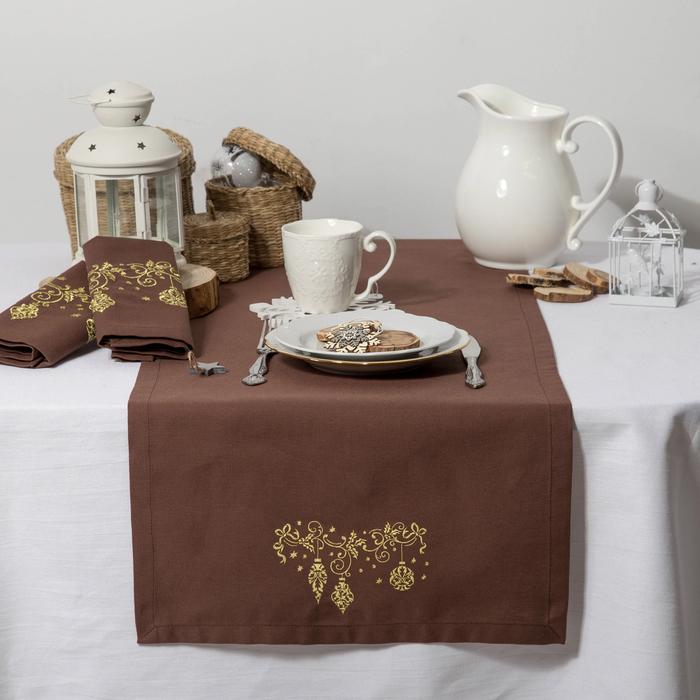 """Дорожка на стол """"Этель"""" Гирлянда, 140х40 цвет шоколад, с ВМГО хл, 200 гр/м²"""
