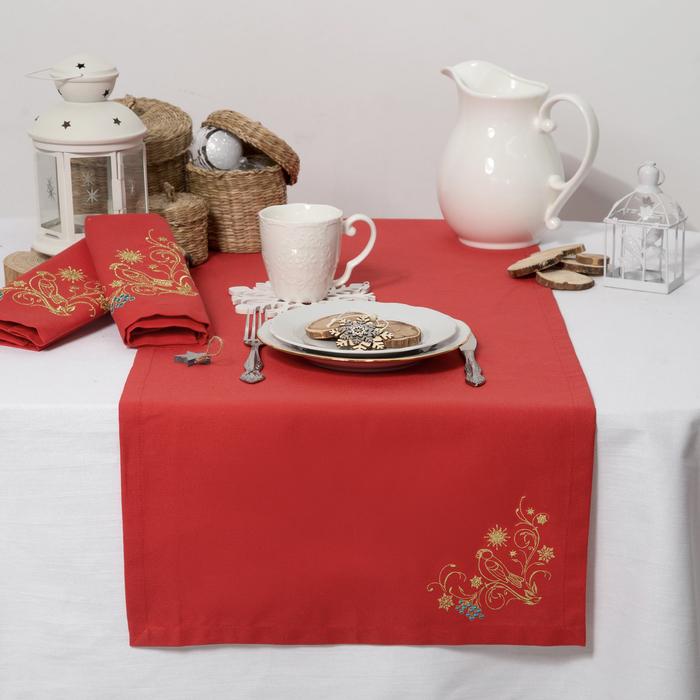 """Дорожка на стол """"Этель"""" Снегири, 140х40 цвет красный, с ВМГО хл, 200 гр/м²"""