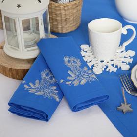 """Набор салфеток """"Этель"""" Рождественские свечи, 40х40 цвет синий, 2 шт, с ВМГО хл, 200 гр/м²"""