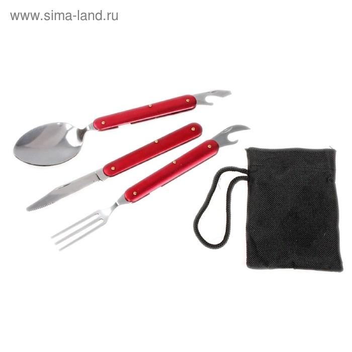 Набор туриста в чехле 4в1: нож, вилка, ложка, открывалка, цвет красный