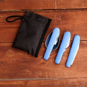 The set of the tourist in case 4in1: knife, fork, spoon, bottle opener, blue