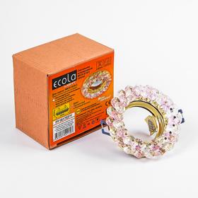 Светильник встраиваемый Ecola Light, CD4141, MR16, GU5.3, круглый, Розовый/Золото, 50x90
