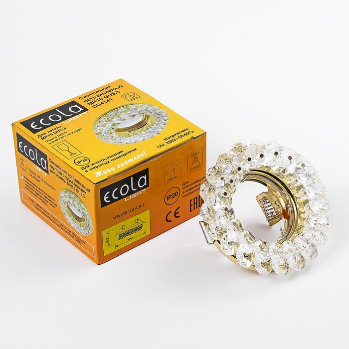 Светильник встраиваемый Ecola Light, CD4141, MR16, GU5.3, круглый, 50x90 мм, прозрач./золот.