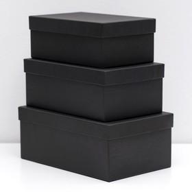 "Набор коробок 3 в 1 ""Черный крафт"", однотонные, 23 х 15 х 9,5 - 19 х 12 х 7,5 см"