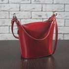 Сумка женская на молнии, 1 отдел, 2 наружных кармана, длинный ремень, цвет красный