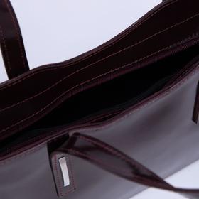 Сумка женская, отдел с перегородкой на молнии, наружный карман, длинный ремень, гладкий шик, цвет бордовый - фото 50039