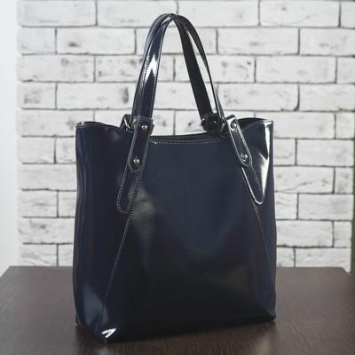 Сумка женская на молнии, отдел с перегородкой, наружный карман, цвет тёмно-синий гладкий шик