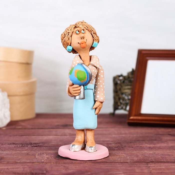 """Статуэтка """"Учительница с глобусом"""", микс"""