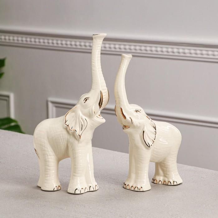 """Набор статуэток """"Слоны"""", 2 предмета, белый, золотистая роспись"""