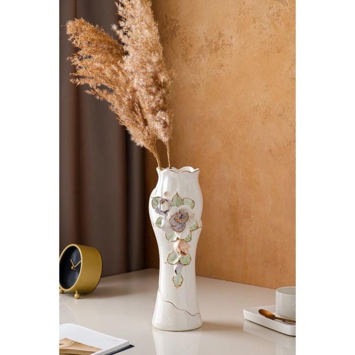 "Ваза настольная ""Азалия"", керамика, цветная лепка, цвет белый, 32 см, микс"