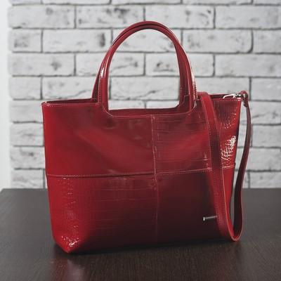 Сумка женская, 2 отдела с перегородками на молнии, наружный карман, кайман/шик/гладкий шик, цвет красный