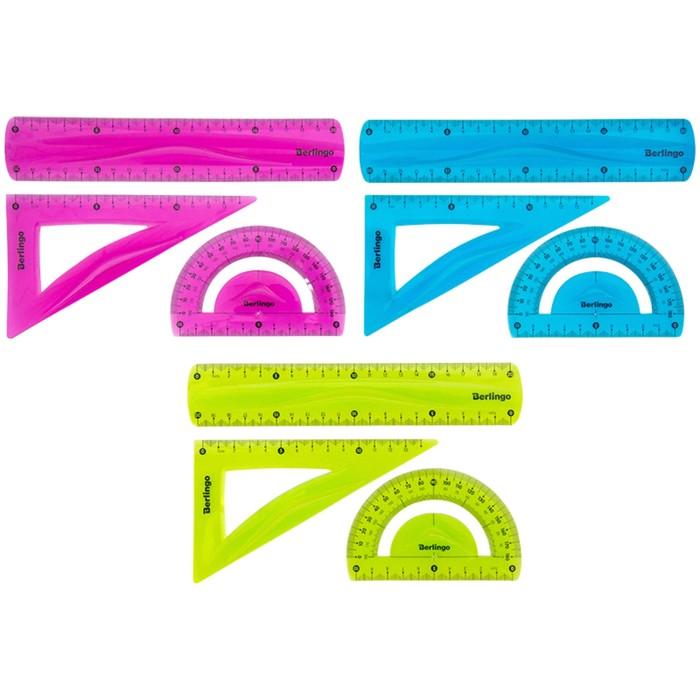 Набор для черчения Berlingo Flexy: треугольник 14 см, линейка 20 см, транспортир, гибкий