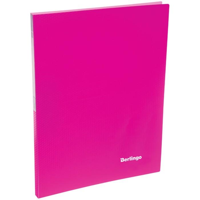 Папка c зажимом А4, 17 мм, 700 мкм Berlingo Neon, неоновая розовая