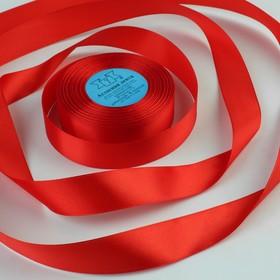 Лента атласная, 25 мм × 33 ± 2 м, цвет красный №111